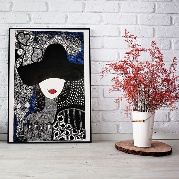 Handpainted Lady with Hat Painting