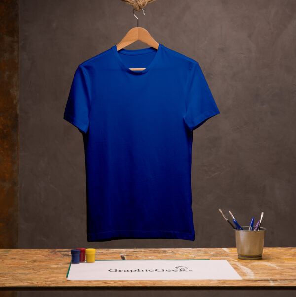 Cotton crew neck royal blue T-Shirt