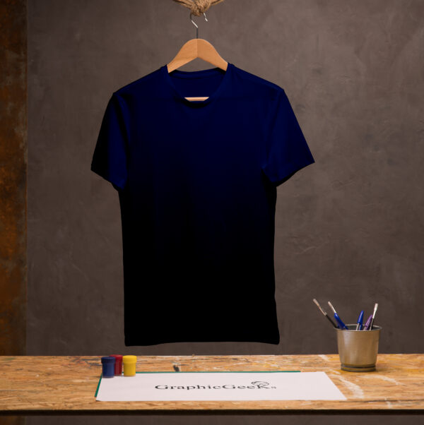 Cotton crew neck navy blue T-Shirt