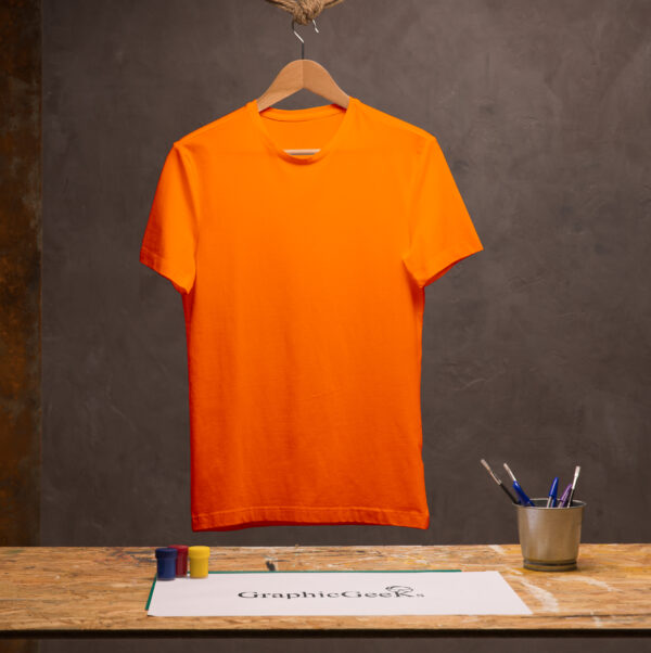 Cotton crew neck orange T-Shirt