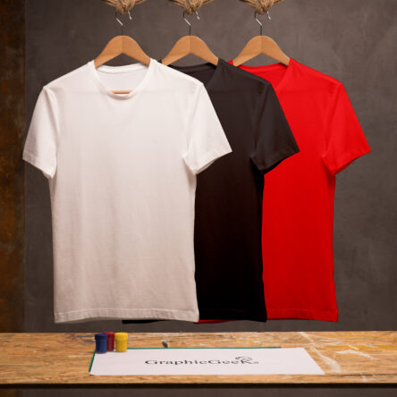 Combo of crew neck black, red and white T-Shirt