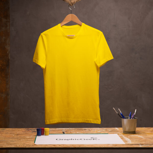 Cotton crew neck yellow T-Shirt