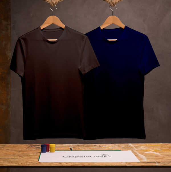 Combo of crew neck Black and Navy-Blue T-Shirt