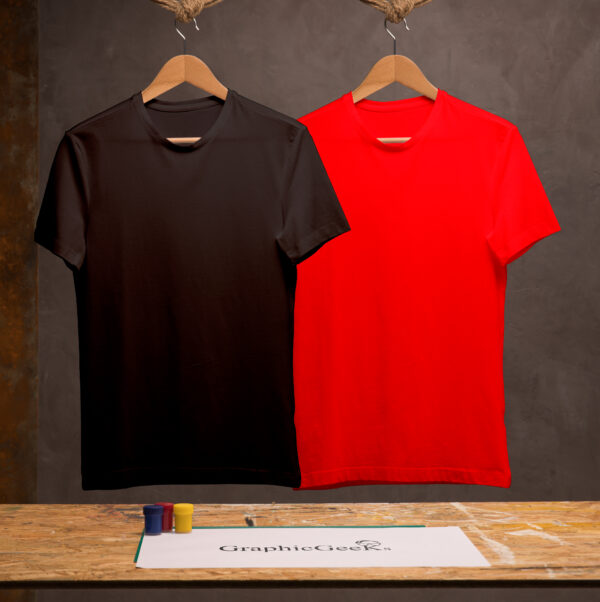 Combo of crew neck Black and Red T-Shirt