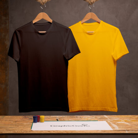 Combo of crew neck Black and Yellow T-Shirt