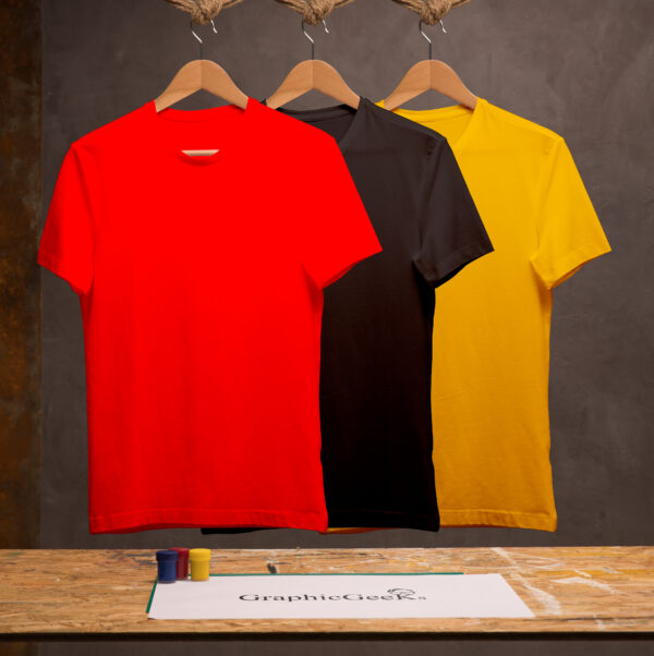 Combo of crew neck black, red and yellow T-Shirt