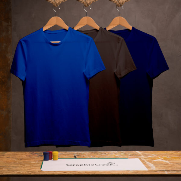 Combo of crew neck black, royal-blue and navy-blue T-Shirt