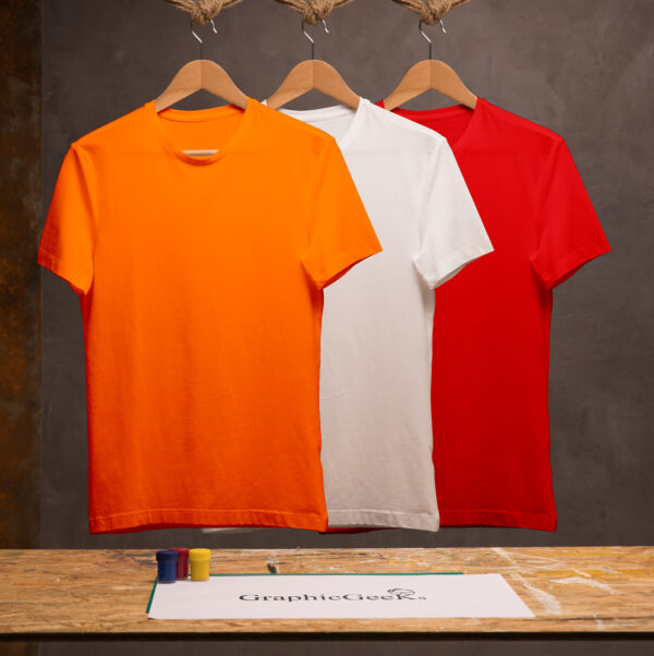 Combo of crew neck red, white and orange T-Shirt