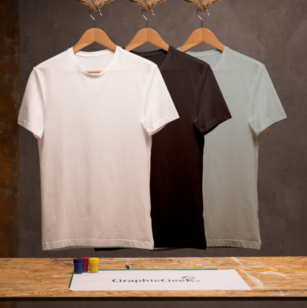 Combo of crew neck white, black and gray T-Shirt