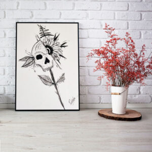 Handpainted Skull Painting